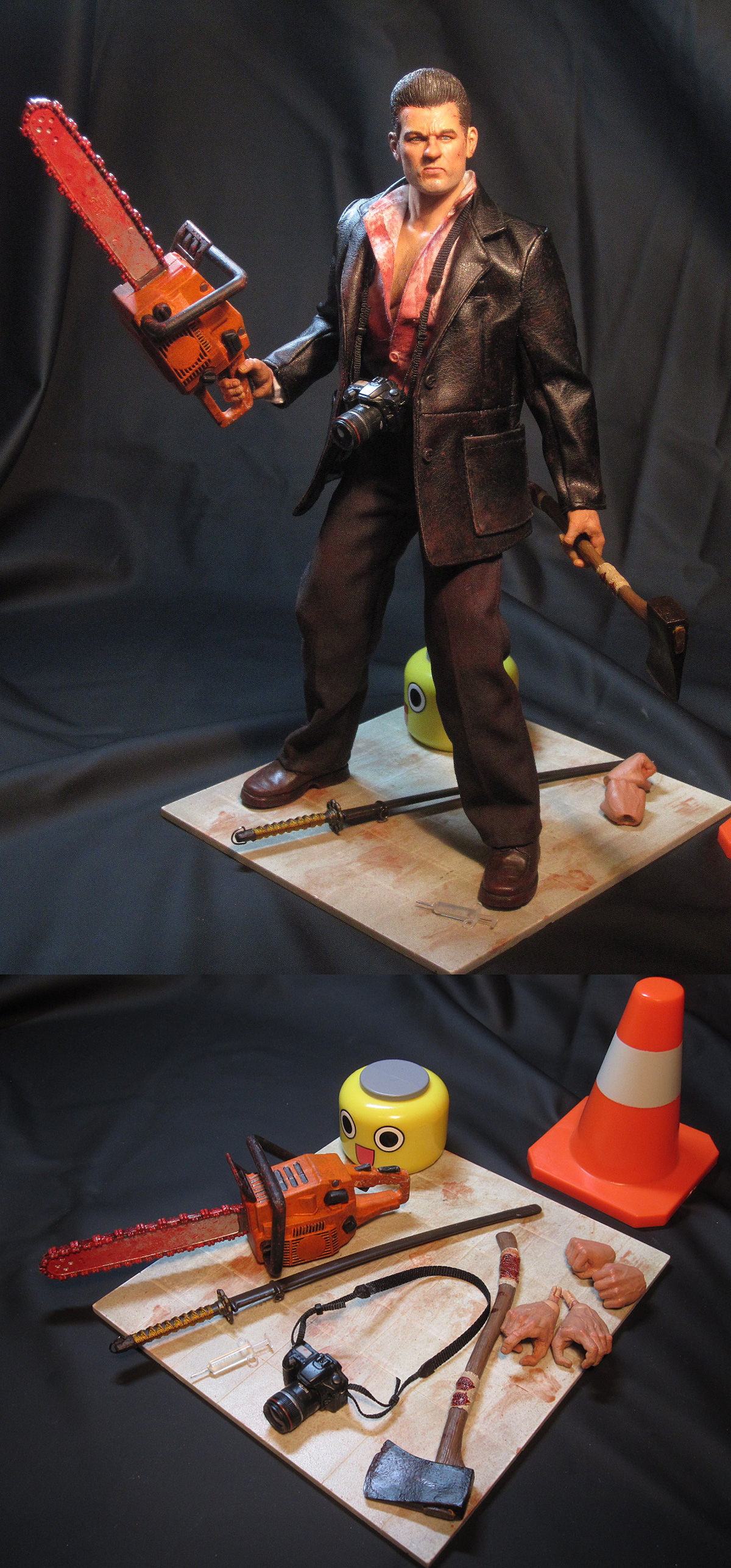 "12"" Dead Rising custom action figure Frank West Capcom - all weapons & base"
