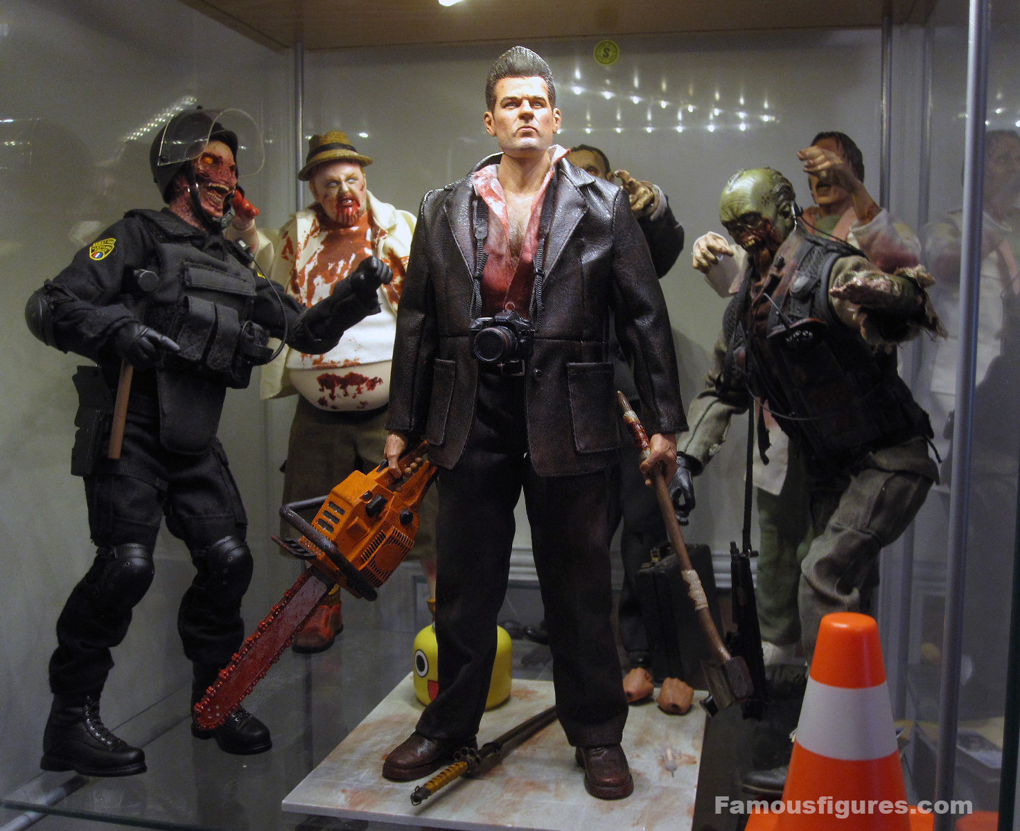"12"" Dead Rising custom action figure Frank West Capcom - surrounded by zombies"