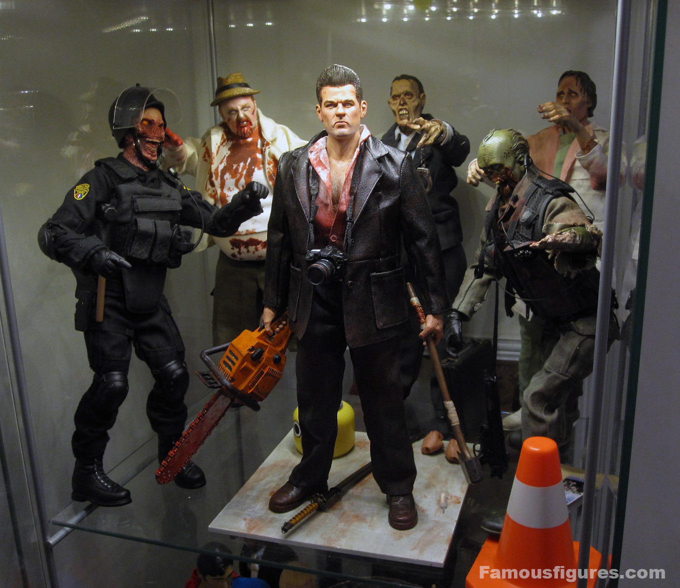 "12"" Dead Rising custom action figure Frank West Capcom - shelf dio, surrounded by zombies 2"